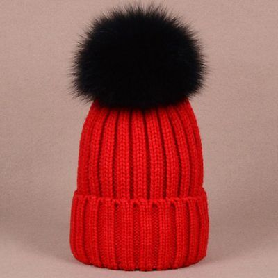 Stylish warm beanies winter hat with quality large size black raccoon dog fur