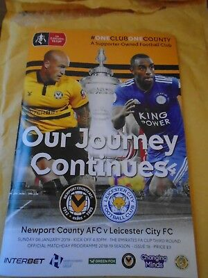Newport County v Leicester City 06.01.2019 - Match Programme