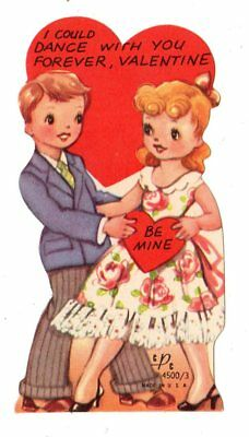 """Teen Boy And Girl Dancing """"i Could Dance With You Forever"""" / Vtg Valentine Card"""