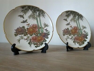 2 SATSUMA cabinet plates Hand Painted Japan excellent condition
