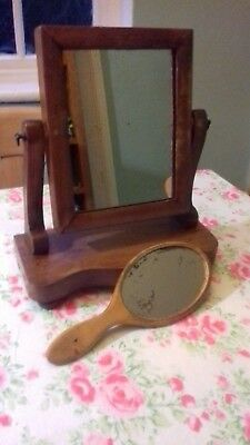 Vintage/Retro Toilet and Hand Mirrors Both with Sought After Distressed Plates