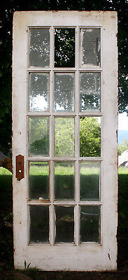 "32""x79 Antique Vintage Wood Exterior Entry French Door Window Beveled Glass Lite"