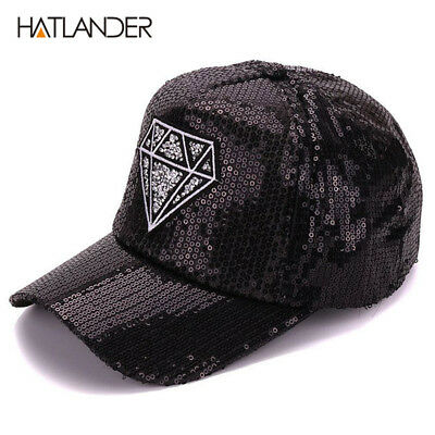 Women summer diamond embroidery baseball cap shining sequins lady