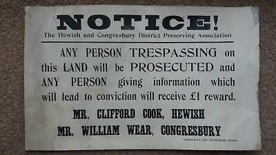 Old Somerset Trespassing Notice Sign