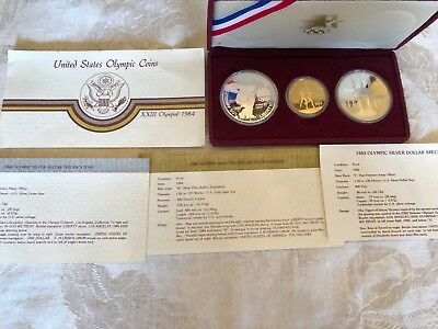 Proof 1983-1984 Uncirculated Olympic 3 Coin Set w/$10 Gold Eagle + 2 Silver $s