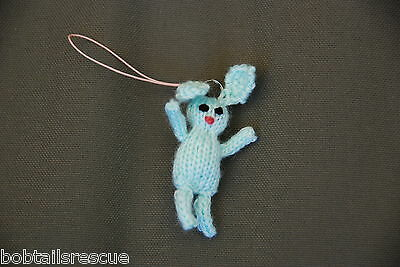 Rabbit Phone Charm, Knitted Bunny Phone Charm Hand made     - 100% Charity -