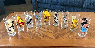 Vintage lot of 9 - 1973 Warner Brothers/Looney Tunes Pepsi Collector Glasses