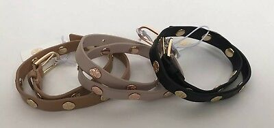 cec9ca78bbd2 NWT!!Tory Burch Leather Double Wrap Logo Stud Bracelet 3 Colors MSRP  128
