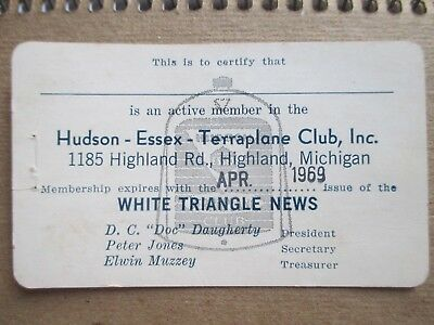 HUDSON - ESSEX - TERRAPLANE Club, Inc. Card 1969