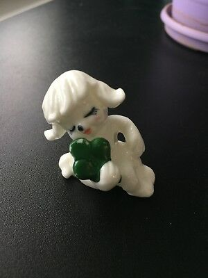 Vintage miniature white dog with clover St. Patricks Day bone china poodle cute