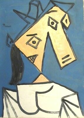 Vintage Abstract Canvas Signed Picasso,  Modern  Art 20th Century