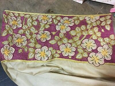 Antique vintage table runner silk w embroidered floral motif French metalwork