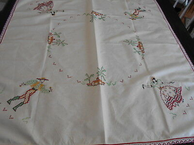 Vtg Embroidered Table Cloth Spanish Mexican Theme 46x47 Nice Weight Material