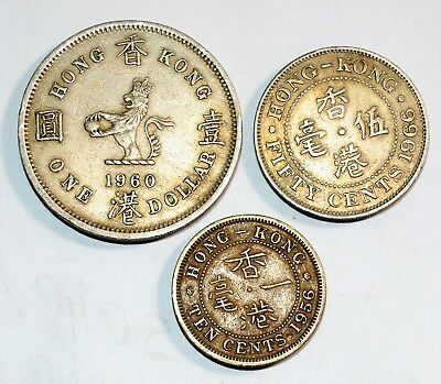 1956 1960 1966 HONG KONG dollar 1 10 50 cents coins lot world foreign