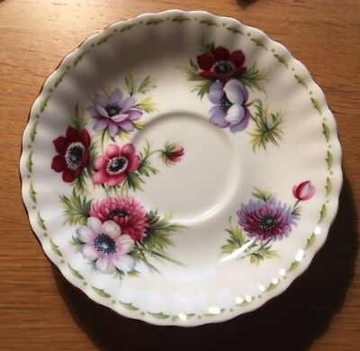 ROYAL ALBERT COLLECTOR SAUCER  FLOWERS OF THE MONTH *ANEMONES* MARCH Bone China