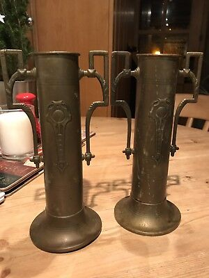 Pair Of Art Deco Vases In Copper Arts And Crafts