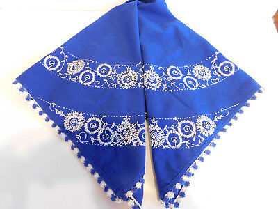 Vintage Hand  Embroidered Blue Tablecloth With Flowers