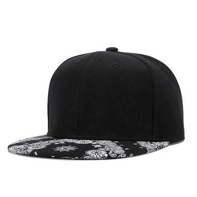 High Quality Cute Polyester Gorras Planas Snapback Hip Hop Cap Black Adjustable