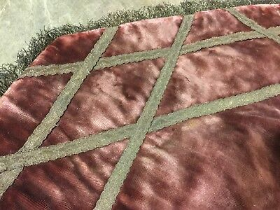Antique vtg Victorian velvet table cloth~runner w French metalwork fringe~trim