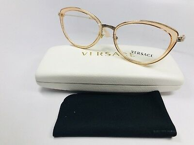 8503b488ceb7 New Versace MOD 1244 1406 Transparent Peach   Gold Eyeglasses 53mm with Case