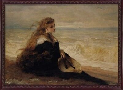 Victorian Trading Co On the Seashore Red Haired Girl on Beach Unframed Print