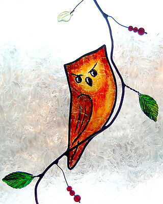 Handcrafted Stained Glass, Stained  Glass Suncatcher Owl,gift for Valentines day