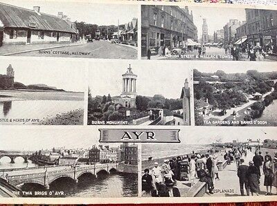 "Valentines ""Bromotone"" multi view postcard of AYR"