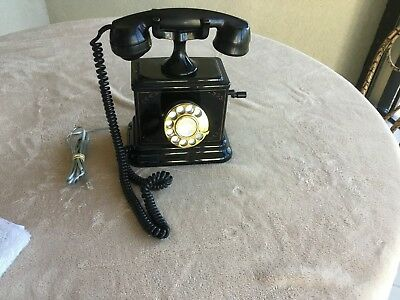 Antique Refurbished Desk Telephone With Crank And Finger Wheel, It Works