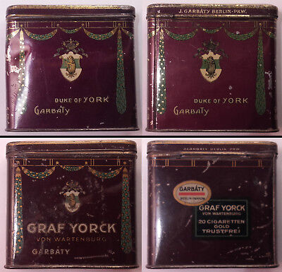 Cigarettes Graf York - Cigarette tin Upright - Zigarettendose / Garbaty WW1