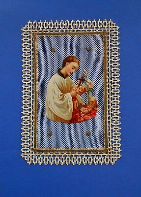Santino Holy card Canivet Manufatto Collage Tulle San Luigi Gonzaga
