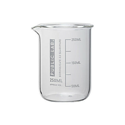 PUBLIC LAB Borosilicate Glass Beakers, Low Form, 250ml (Pack of 10)