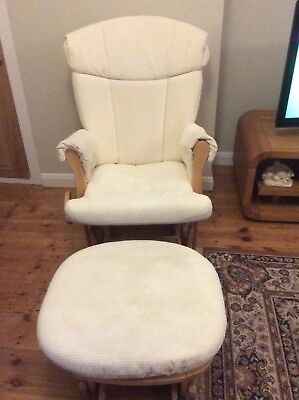 Tutti Bambini gliding Chair and gliding foot rest with beige covers