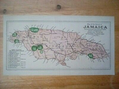 Very old map of Jamaica, Jamaica Estates and Rubber Plantations Ltd