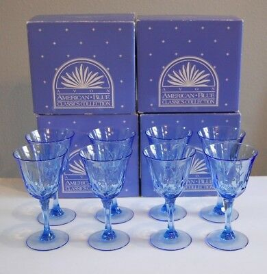 Avon American Blue Classics CollectionSet of 8 Glasses Water Wine Goblets