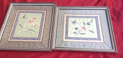 Pair of Vintage  Chinese Silk Embroidery Pictures Framed. Floral, Butterfly