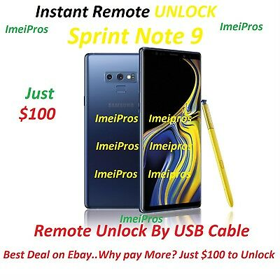 SAMSUNG NOTE 9 Sprint Network Unlock Remote Service Instant! Done by a Tech!