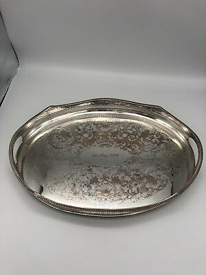 Vintage silver plated over Copper oval serving tray Sheffield