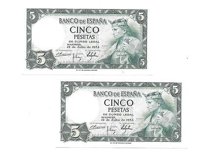PAREJA CORRELATIVA 5 PESETAS DE 1954 SC- SIN SERIE Spain Pick #146