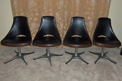 Mid Century MCM 4 Kitchen Chairs Dining Two-Toned Vinyl Swivel Retro Vintage