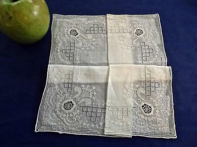 Antique Scottish Ayrshire FAB Fine Embroidery & Lace Handkerchief Wedding Hankie