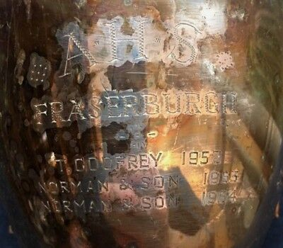 Fraserburgh Scotland 1952 large silver plate trophy, loving cup, trophies