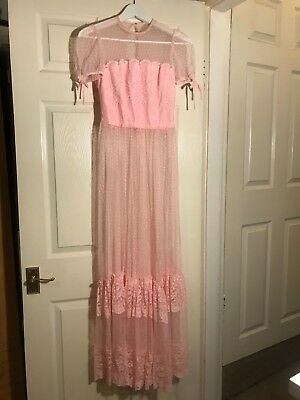 Pink lace vintage 1950s prom dress floral bodice polka dot puff sleeve sheer S M