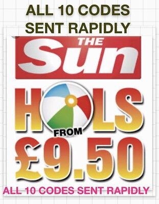 Sun Holidays Booking Codes £9.50 ALL 10 Codes SENT IN RAPID RESPONSE.