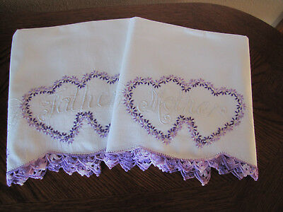 Vintage Pair Pillowcases Embroidered Crocheted Aster Heart Wreaths Mother Father