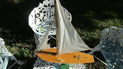 """Vintage Birkenhead Star Yacht Pond Boat w/ Stand - Made in England ~ 26"""" Tall"""