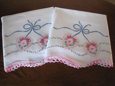 Vintage Pair of Pillowcases Embroidered Crocheted Aster Heart Wreaths Exquisite