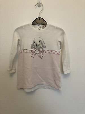 MONNALISA BABY Girls Long Sleeved Top Pink White Rabbit Aged 1 Yrs 12 Months
