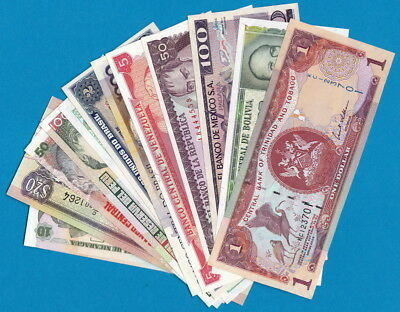 South & Central America- Lot of 15 UNCIRCULATED banknotes, all different