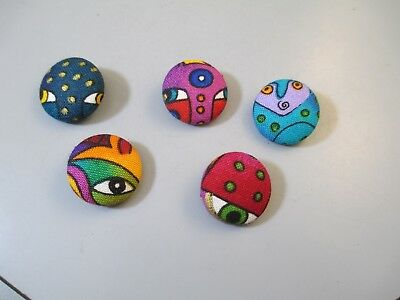 "Laurel Burch Fabric Buttons 5 3/4"" Eye Cats Faces Lot OOAK Hand Made"