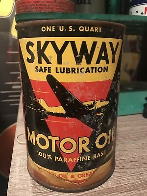 Original Vintage Skyway Motor Oil Can Rare Metal Tin 1 Quart Gas Oil NO RESERVE